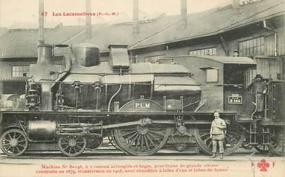 """CPA TRAIN / LOCOMOTIVE """"machine à 2 essieux accouplés et bogie"""""""