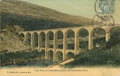 """CPA """"Pont de Cize Bolozon sur la rivière d'Ain"""" / CARTE TOILÉE"""