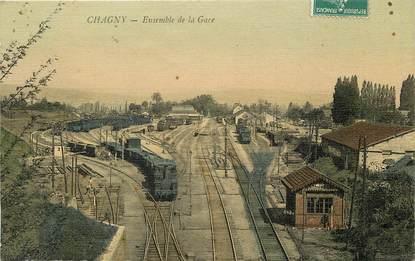 """CPA FRANCE 71 """"Chagny, la gare"""" / CARTE TOILÉE"""