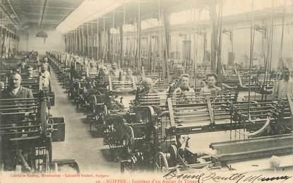 """/ CPA FRANCE 51 """"Suippes, intérieur d'un atelier de tissage"""""""