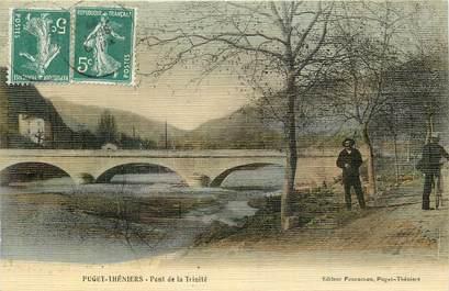 """CPA FRANCE 06 """"Puget Théniers, pont de la Trinité"""" / CARTE TOILÉE"""
