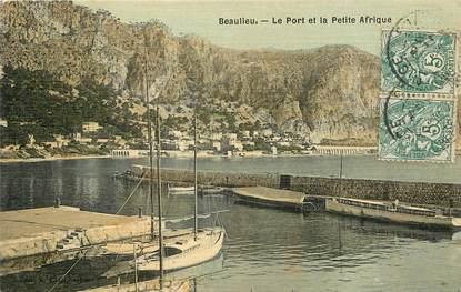 """CPA FRANCE 06 """"Beaulieu, le Port et la petite Afrique"""" / CARTE TOILÉE"""