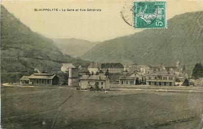 "CPA FRANCE 25 ""Saint Hippolyte, la gare"" / CARTE TOILÉE"