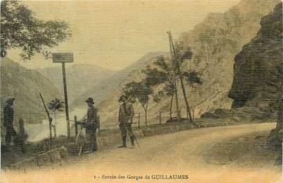 """CPA FRANCE 06 """"Guillaumes, entrée des Gorges"""" / CARTE TOILÉE"""