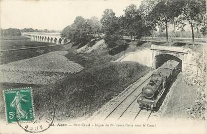 """/ CPA FRANCE 47 """"Agen, pont canal, ligne Bordeaux Cette"""" / TRAIN"""