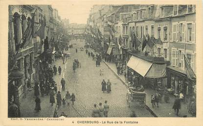 "/ CPA FRANCE 50 ""Cherbourg, la rue de la Fontaine"""