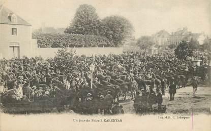 """/ CPA FRANCE 50 """"Un jour de foire à Carentan"""""""