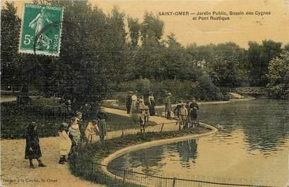 "CPA FRANCE 62 ""Saint Omer, jardin public, bassin des Cygnes"" / CARTE TOILÉE"