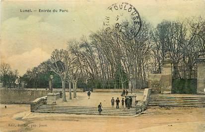 """CPA FRANCE 34 """"Lunel, entrée du parc"""" / CARTE TOILÉE"""