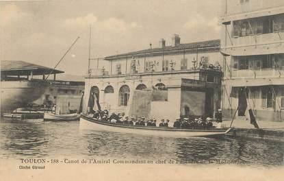 """/ CPA FRANCE 83 """"Toulon, canot de l'amiral commandant en chef de l'escadre de la méditérrannée"""""""