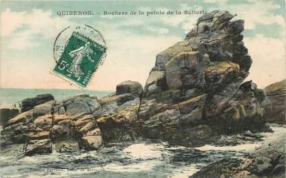 """CPA FRANCE 56 """"Quiberon, rochers de la pointe de la Batterie"""""""