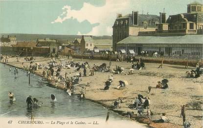 """/ CPA FRANCE 50 """"Cherbourg, la plage et le casino"""""""