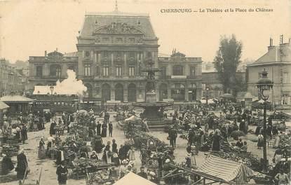 """/ CPA FRANCE 50 """"Cherbourg, le théâtre et la place du château"""""""