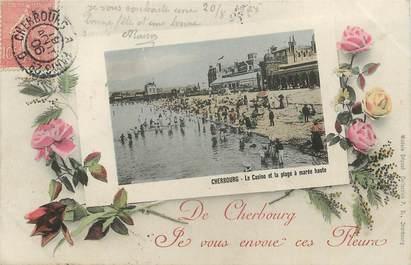 """/ CPA FRANCE 50 """"Cherbourg, le casino et la plage à marée haute"""""""