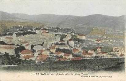 """CPA FRANCE 07 """"Privas, vue générale prise du Mont Toulon"""""""