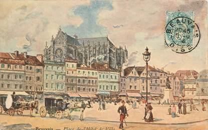 """CPA FRANCE 60 """"Beauvais, place de l'Hotel de ville"""" / Illustrée"""