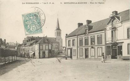 """/ CPA FRANCE 61 """"Moulins La Marche, rue de l'église"""""""