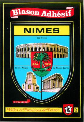 """/ CPSM FRANCE 30 """"Nîmes"""" / BLASON ADHESIF"""