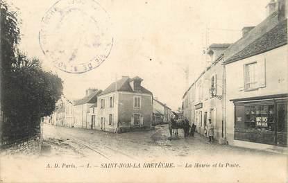 """/ CPA FRANCE 78 """"Saint Nom La Brétèche, la mairie et la poste"""""""