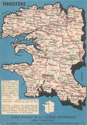 """/ CPSM FRANCE 29 """"Finistère"""" / CARTE GEOGRAPHIQUE"""