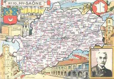 """/ CPSM FRANCE 70 """"Haute Saône"""" /  CARTE GEOGRAPHIQUE"""