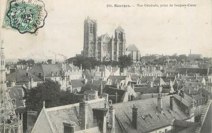 """/ CPA FRANCE 18 """"Bourges, vue générale"""" / CACHET AMBULANT"""