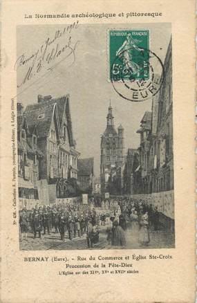 """/ CPA FRANCE 27 """"Bernay, rue du commerce et église Sainte Croix"""""""