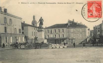 """/ CPA FRANCE 47 """"Nérac, place de Normandie, statue de Henri IV"""""""