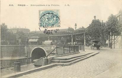 """/ CPA FRANCE 75019 """"Paris, Métropolitain de la Villette"""" / METRO"""