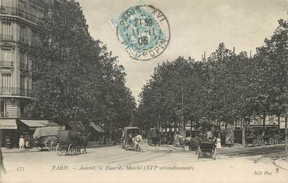 "/ CPA FRANCE 75016 ""Paris, Auteuil, la place du marché"""