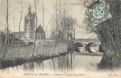 """/ CPA FRANCE 28 """"Nogent Le Rotrou, l'Huisne et l'église Saint Hilaire"""""""