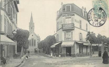 """/ CPA FRANCE 95 """"Enghien les Bains, rue de l'église et bld d'Ormesson"""""""