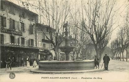 """CPA FRANCE 30 """"Pont Saint Esprit, Fontaine du Coq"""""""