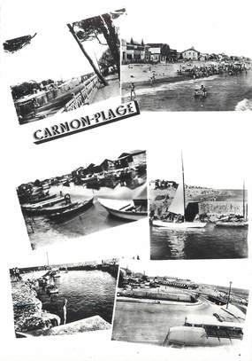 """/ CPSM FRANCE 34 """"Carnon plage, le canal, la plage, le vieux port"""""""