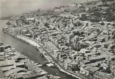 """/ CPSM FRANCE 34 """"Sète, vue aérienne sur le quai de la consigne et le mont Saint Clair"""""""
