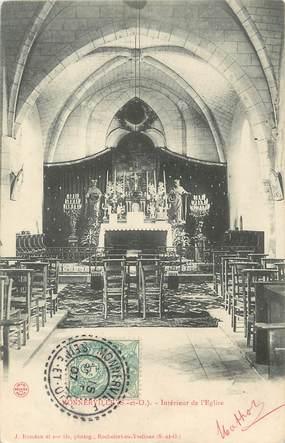 """/ CPA FRANCE 91 """"Monnerville, intérieur de l'église"""" / CACHET PERLE"""