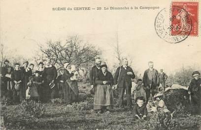 """/ CPA FRANCE 18 """"Scène du centre, un dimanche à la campagne"""""""