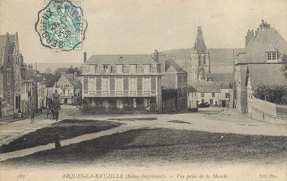 """/ CPA FRANCE 76 """"Arques La Bataille, vue prise de la mairie"""" / CACHET AMBULANT"""