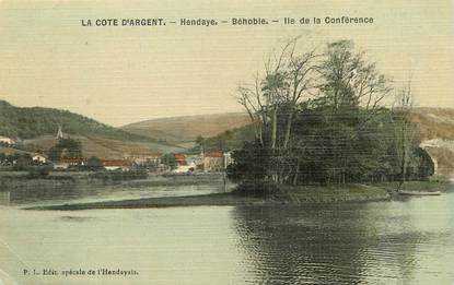 """/ CPA FRANCE 64 """"Hendaye Béhobie, Ile de la Conférence"""""""