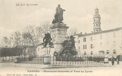 """/ CPA FRANCE 46 """"Cahors, monument Gambetta et tour du Lycée"""""""