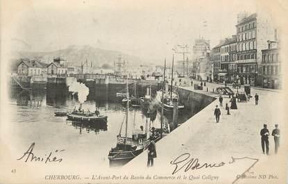 """/ CPA FRANCE 50 """"Cherbourg, l'avant port du bassin du commerce et le quai Caligny"""""""