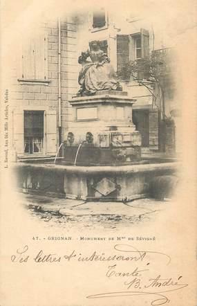 """/ CPA FRANCE 26 """"Grignan, monument de Madame de Sévigné"""""""