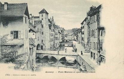 """/ CPA FRANCE 74 """"Annecy, pont Morens et quai de l'Evêché"""""""
