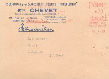 """/ CPSM FRANCE 35 """" Rennes, Ets Chevet"""" / CARROSSERIE / SELLERIE / CARTE PUBLICITAIRE"""