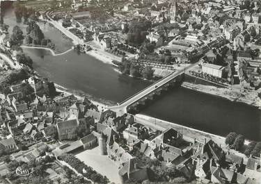 """/ CPSM FRANCE 36 """"Le Blanc, vue aérienne, pont sur la Creuse"""""""