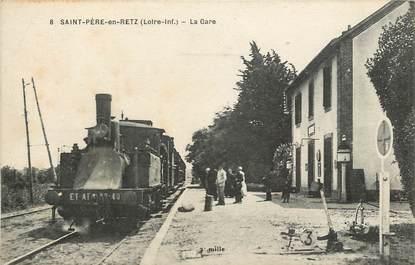 """CPA FRANCE 44 """"Saint Père en Retz, la gare"""" / TRAIN"""