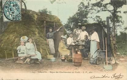 """CPA FRANCE 21 """"Repas des charbonniers en forêt"""""""