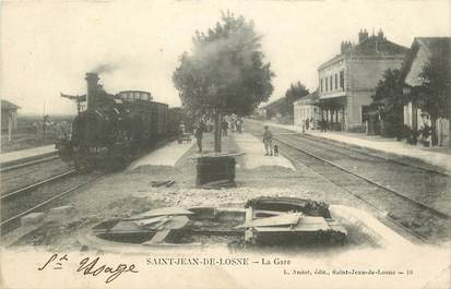 "CPA FRANCE 21 ""Saint Jean de Losne, la gare"" / TRAIN"