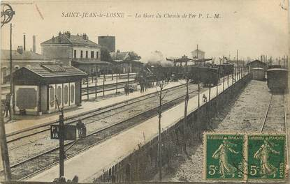 "CPA FRANCE 21 ""Saint Jean de Losne, la gare du chemin de fer"" / TRAIN"