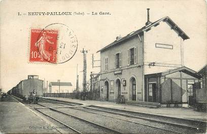 "CPA FRANCE 36 ""Neuvy Pailloux, la gare"" / TRAIN"